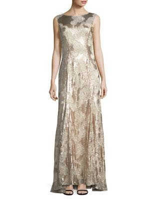 Floral Lace Embroidery Trumpet Gown by Tahari Arthur S. Levine