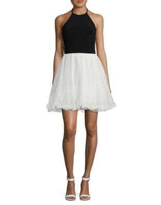 Open Back Halter Skater Dress by Blondie Nites