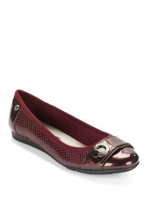 Azi Patent Cap-Toe Flats by Anne Klein