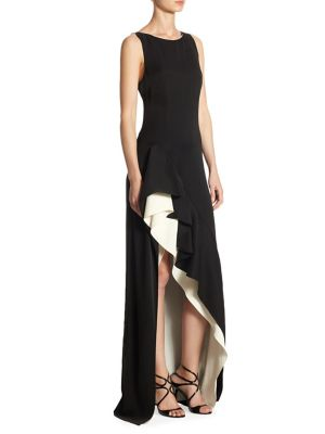 Color Block Asymmetrical Flounce Skirt Gown by Halston Heritage