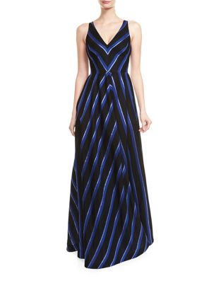 Chevron Floor-Length Gown by Halston Heritage
