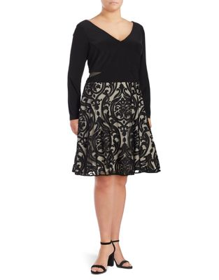 Plus Long Sleeve Fit and Flare Dress by Xscape