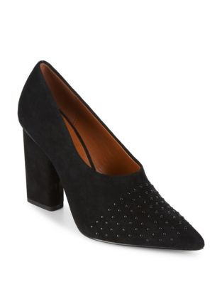 Laurel Studded Suede Pumps by H Halston