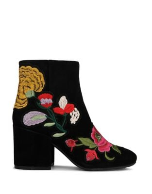 Reeve Embroidered Suede Booties by Kenneth Cole New York