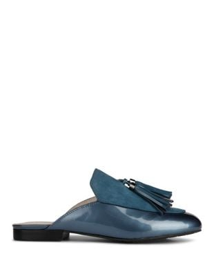 Whinnie Patent Leather and Suede Mules by Kenneth Cole New York