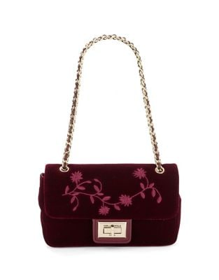 Floral Embroidered Velvet Shoulder Bag 500087485031