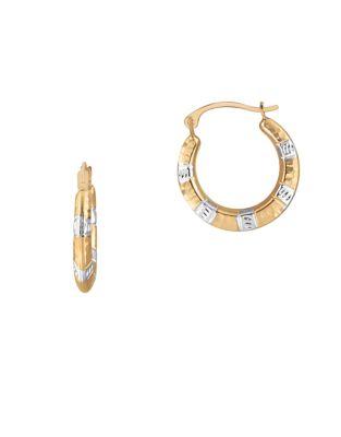 Hammered 14K Yellow Gold Hoop Earrings 500087485735