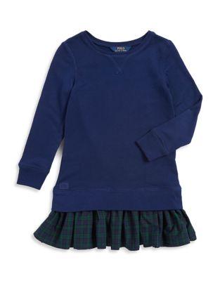 Toddlers Little Girls  Girls Flounced Sweatshirt Dress