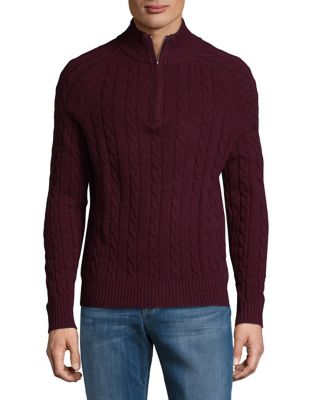 Cable-Knit Half-Zip Sweater...