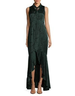 Tie Neck Printed Satin Gown by Shoshanna