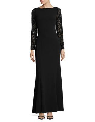 Sequin-Sleeve Trumpet Gown by Calvin Klein