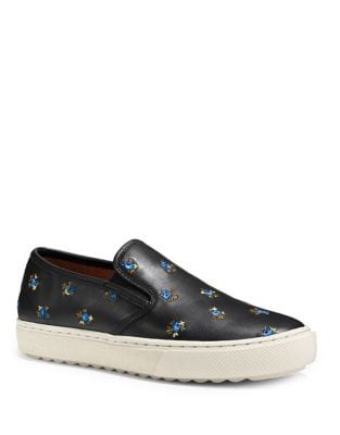 Floral Leather Slip-On Sneakers by COACH