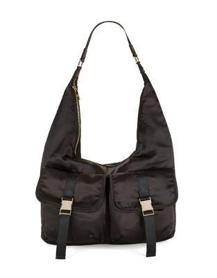 Buckled Satin Hobo Bag...