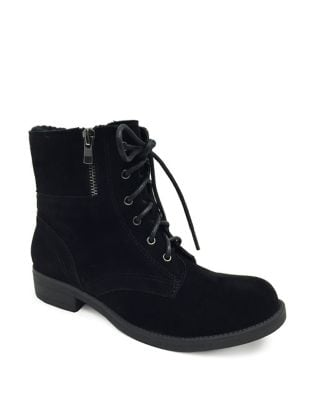 Devon Faux Suede Combat Booties by Lexi and Abbie