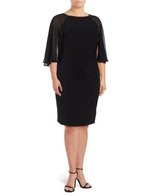 Plus Sheer Ruched Dress by Calvin Klein