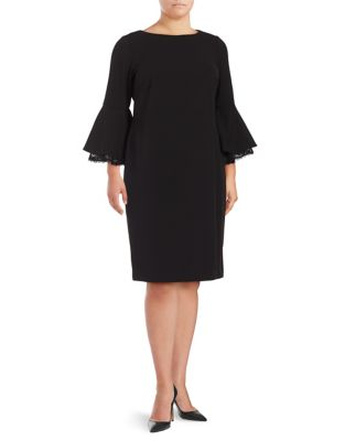 Plus Bell Lace Sleeve Sheath Dress by Calvin Klein