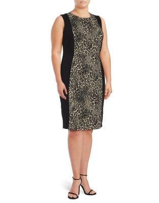 Plus Animal Print Sheath Dress by Calvin Klein