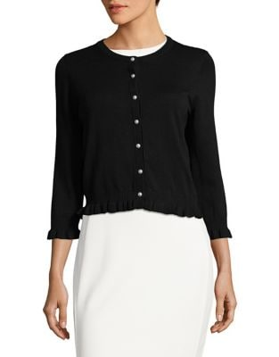 Simulated Faux Pearl Button-Down Shirt by Karl Lagerfeld Paris
