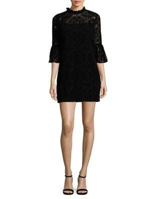 Petite Velvet Lace Bell Sleeve Dress by Calvin Klein