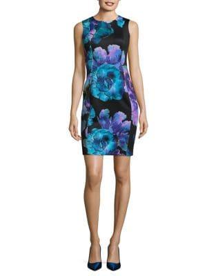 Petite Floral Sheath Dress by Calvin Klein