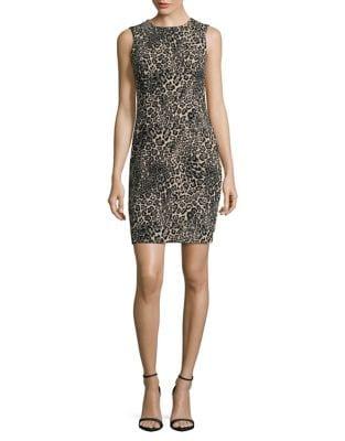 Petite Cheetah Sleeveless Dress by Calvin Klein
