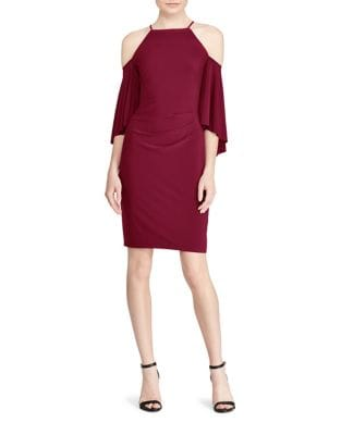 Halterneck Bell-Sleeve Jersey Dress by Lauren Ralph Lauren