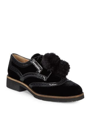 Pom-Pom Velvet Wingtip Oxfords by Sam Edelman