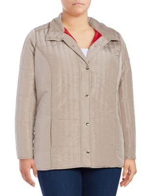 Plus Quilted Snap-Front Jacket 500087512750