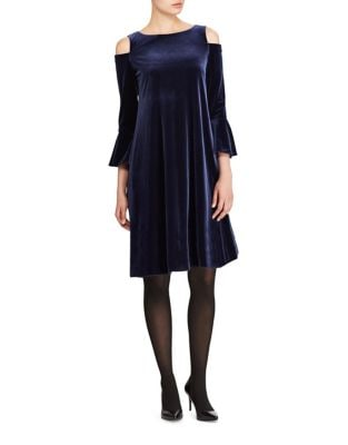 Velvet Cold-Shoulder A-Line Dress by Lauren Ralph Lauren