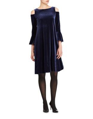 Photo of Velvet Cold-Shoulder A-Line Dress by Lauren Ralph Lauren - shop Lauren Ralph Lauren dresses sales