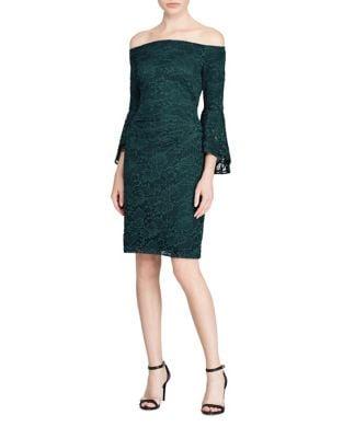 Lace Off-The-Shoulder Sheath Dress by Lauren Ralph Lauren