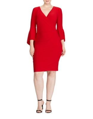 Photo of Plus Three-Quarter Pull-On Dress by Lauren Ralph Lauren - shop Lauren Ralph Lauren dresses sales