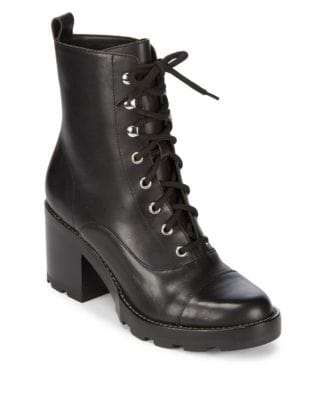 Wanya Stacked Heel Leather Boots by Marc Fisher LTD