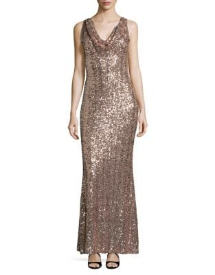 Sequined Cowl Neck Column Gown by Belle Badgley Mischka