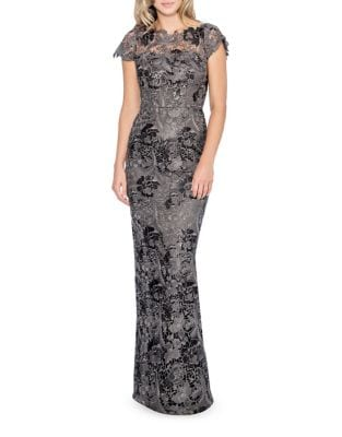 Cap-Sleeve Lace Gown by Decode 1.8