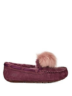 UGG - Dakota Fur Pom-Pom Suede Loafers