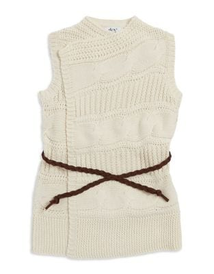 Girls CableKnit Open Front Cardigan