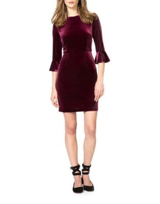 Three-Quarter Bell Sleeve Velvet Sheath Dress by Donna Morgan