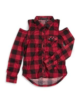 Girls ColdShoulder Plaid ButtonDown Shirt