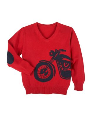 Little Boys Motorcycle Graphic Cotton Sweater