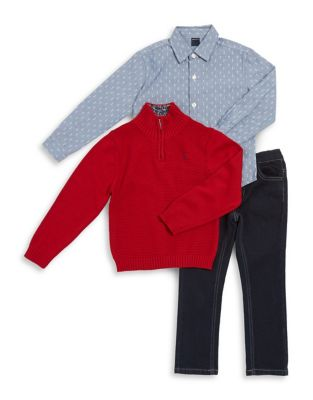 Little Boy's Three-Piece Plaid Collared Shirt, Cotton Sweater and Pants 500087532696