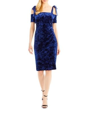 Cold-Shoulder Velvet Sheath Dress by Nicole Miller New York
