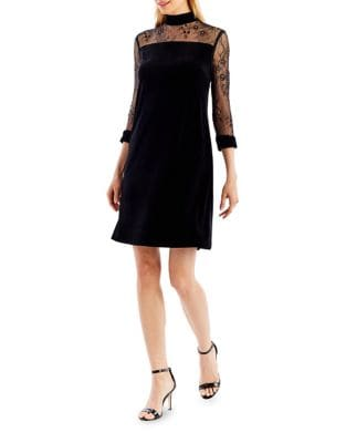 Lace-Sleeve Velvet A-Line Dress by Nicole Miller New York