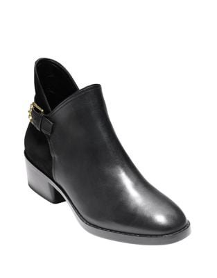 Althea Leather and Suede Buckle Booties by Cole Haan