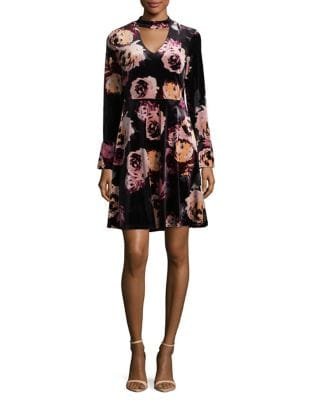 Floral Fit-&-Flare Velvet Dress by Ivanka Trump