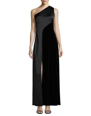 Satin One-Shoulder Gown by Laundry by Shelli Segal