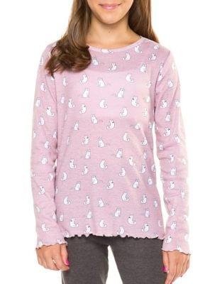 Girls Cat Print Pajama Top