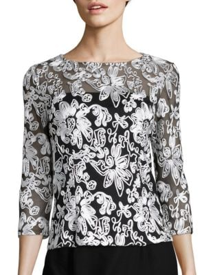 Embellished Mesh Blouse by Alex Evenings