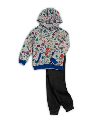 Little Boys TwoPiece Graphic Hoodie and Cotton Pants Set