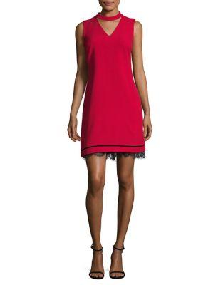 Choker Lace Crepe Dress by Karl Lagerfeld Paris